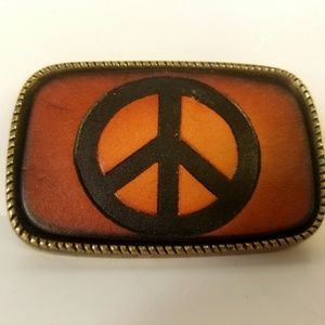 Belt Buckle, Peace, Brass Tone, Leather, Boho